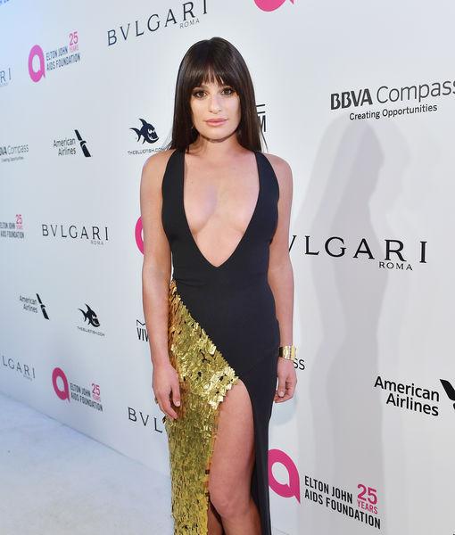 Lea Michele Suffers Nip Slip After Oscar Party Extratv Com