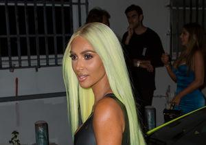 Pics! Kim Kardashian's Neon Green Hair Matches Her Lamborghini