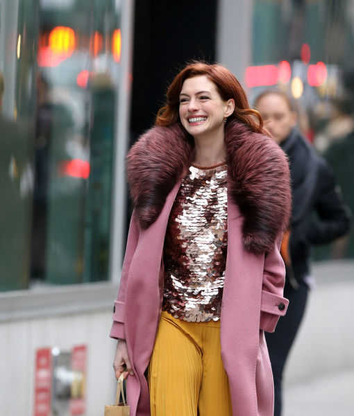 Anne Hathaway Debuts New Red 'Do in NYC