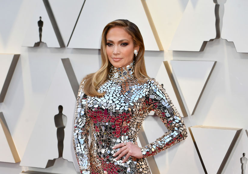Jennifer Lopez Is Beyond Glam in Silver Metallic Oscars Dress