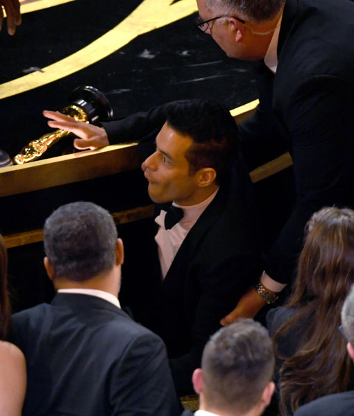Ouch! Rami Malek Falls Off Oscars Stage Following His Win