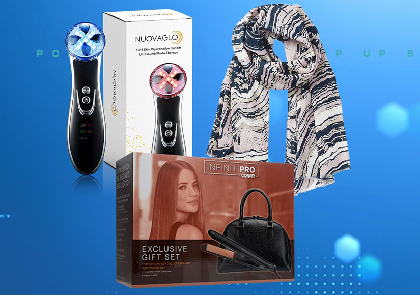 'Extra's' Pop-Up Shop: Fashion Scarves, Flat Iron, and Light Therapy Skin…
