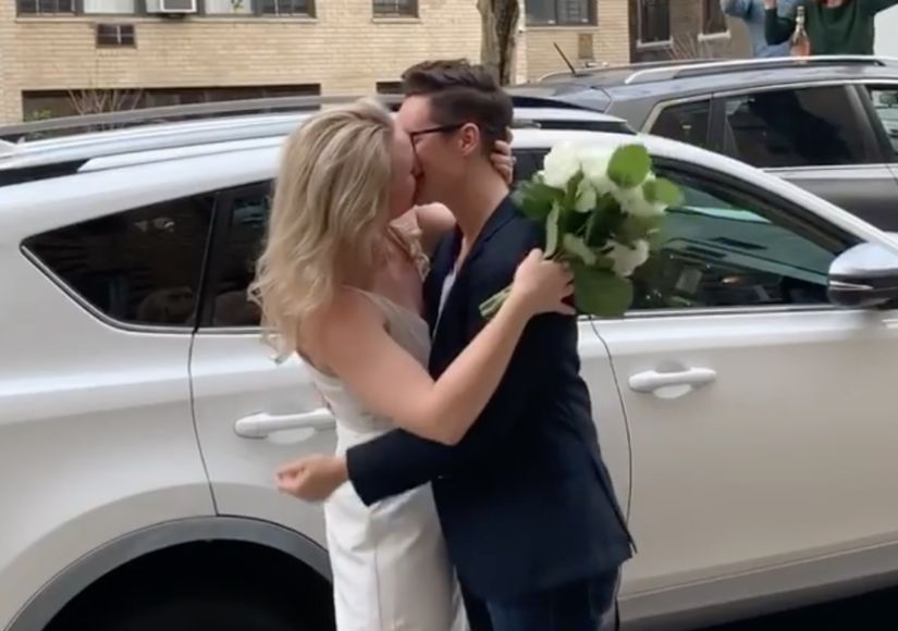 NYC Couple's Street Wedding Goes Viral as Friend Officiates from Window