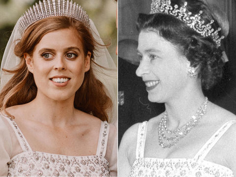 Princess Beatrice Wed in the Queen's Vintage Gown — See How They Wore It Years Apart