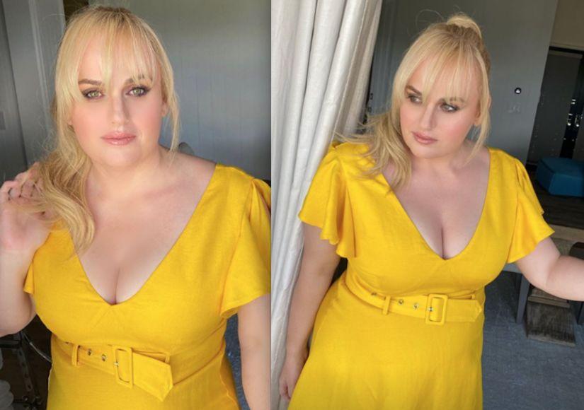 Rebel Wilson yellow dress for friends wedding August 15 2020