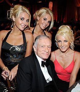 Hugh Hefner saves all his kisses for three - but how long ... |Hugh Hefner Twin Girlfriends