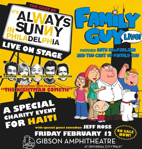 'Always Sunny' and 'Family Guy' benefit Haiti