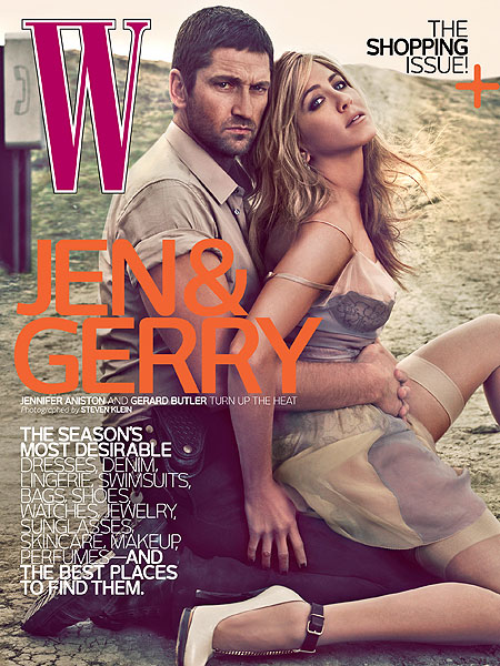 jennifer aniston and gerard butler on cover of W magazine
