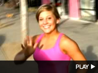 Shawn Johnson smiles and continues to rehearse