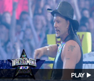 Mickey Rourke in the ring at Wrestlemania