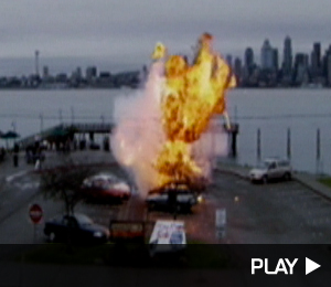 A car explodes in