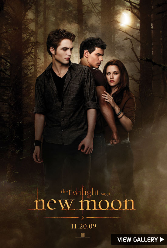 'New Moon' poster with Robert Pattinson, Taylor Lautner and Kristen Stewart