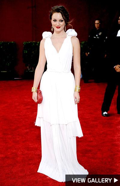 Leighton Meester at the Emmy Awards in Bottega Veneta