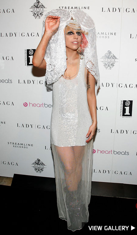 Lady Gaga poses for cameras at her VMA after party