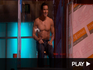 Mario Lopez getting dunked by Ellen