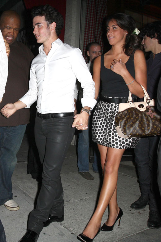 Kevin Jonas and fiancée Danielle Deleasa celebrating their engagement