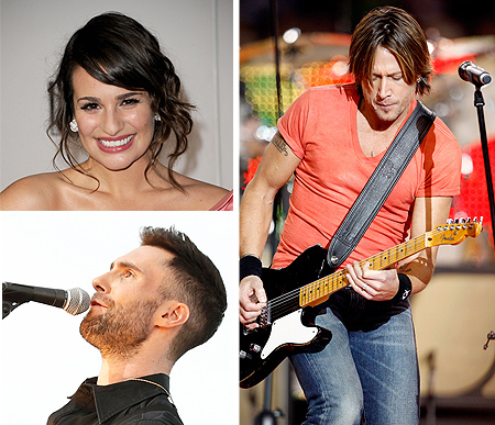 lea michelle and keith urban and maroon 5